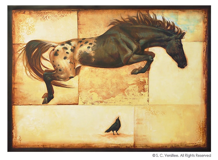 "S. C. Versillee Original Oil Painting ""Horse Over Crow"""