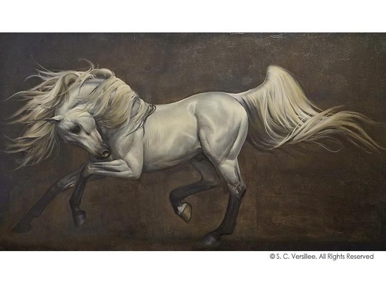 "S. C. Versillee Original Oil Painting ""Adagio: Arabian Stallion"""