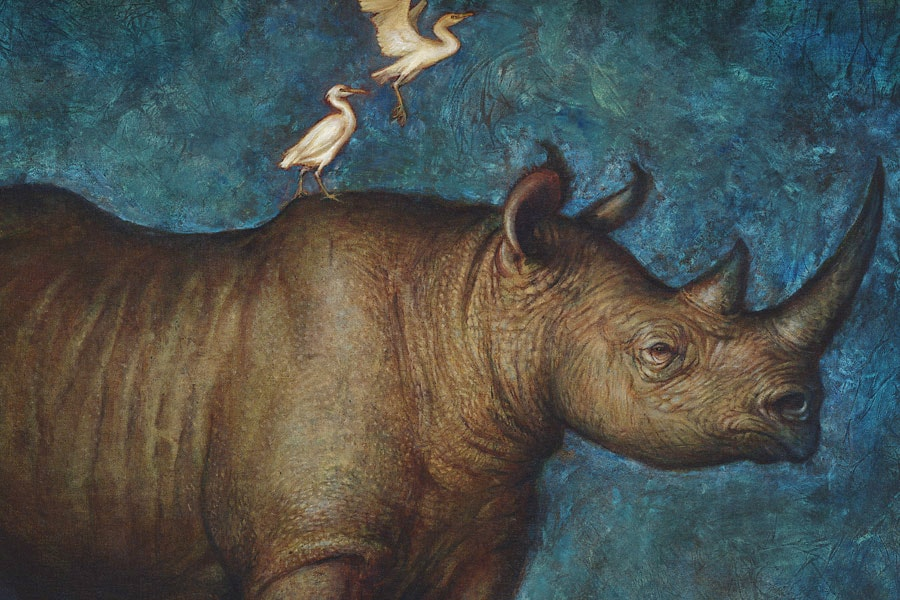 Black Rhino Painting by S. C. Versillee